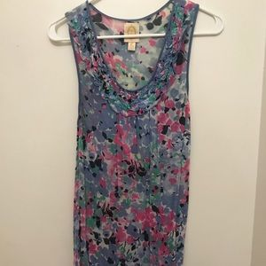 Anthropologie XS Ric Rac Floral light weight Tank